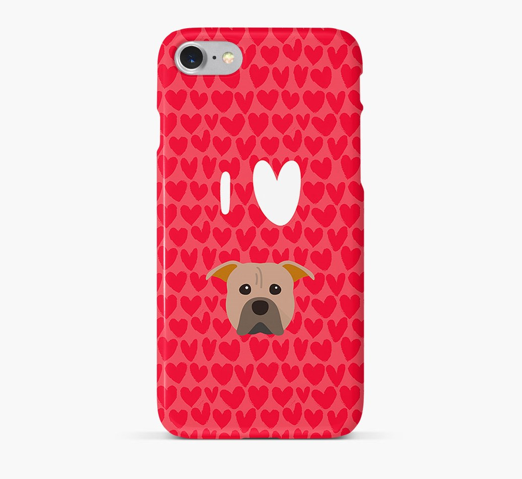 'I Heart {dogsName}' Phone Case with American Pit Bull Terrier Icon