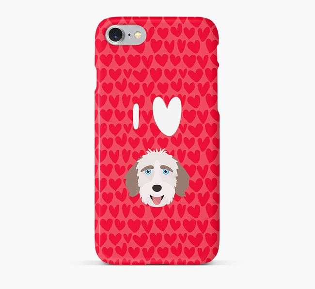 'I Heart {dogsName}' Phone Case with Aussiedoodle Icon