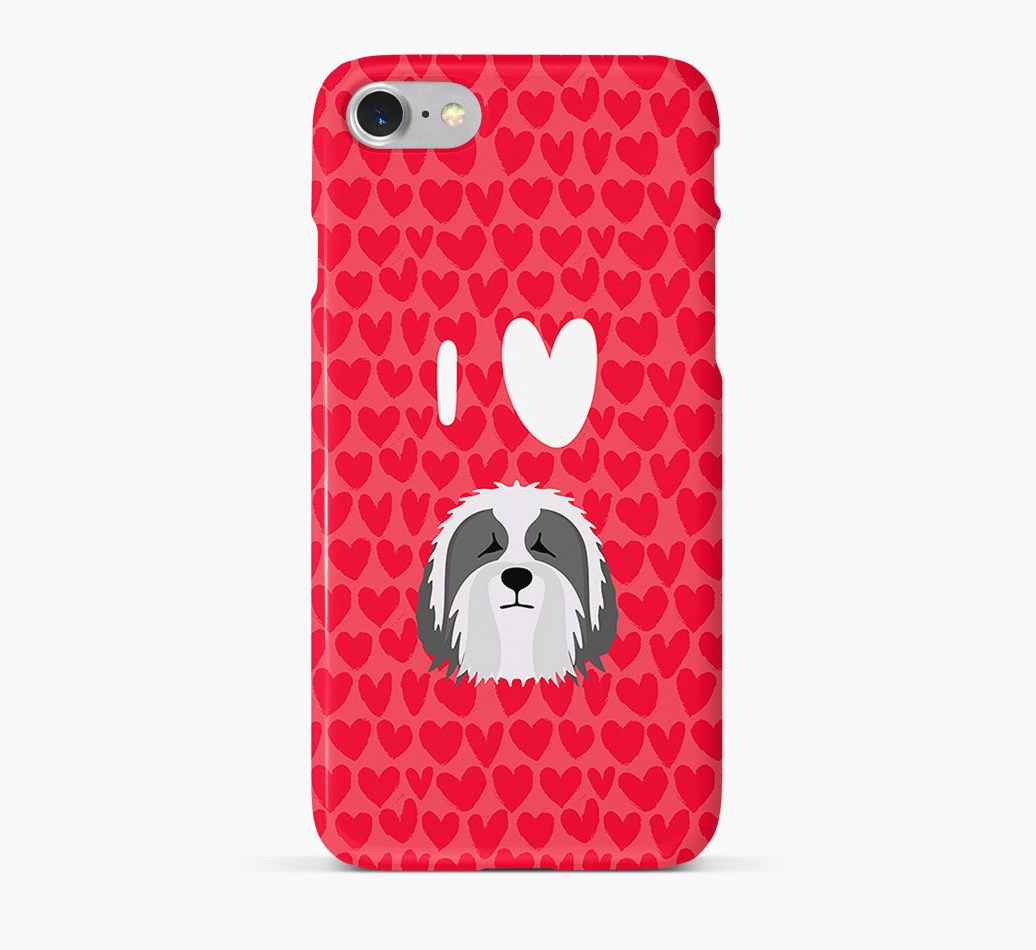 'I Heart {dogsName}' Phone Case with Bearded Collie Icon