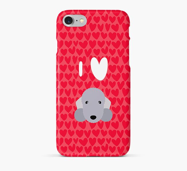 'I Heart {dogsName}' Phone Case with Bedlington Terrier Icon