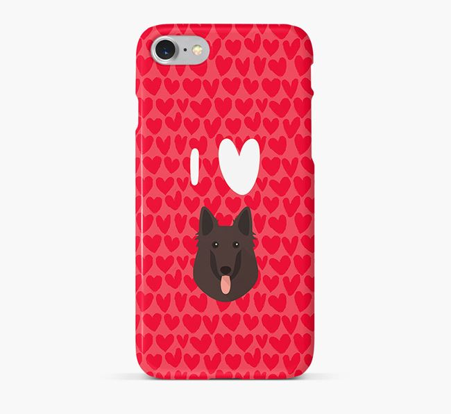 'I Heart {dogsName}' Phone Case with Belgian Groenendael Icon