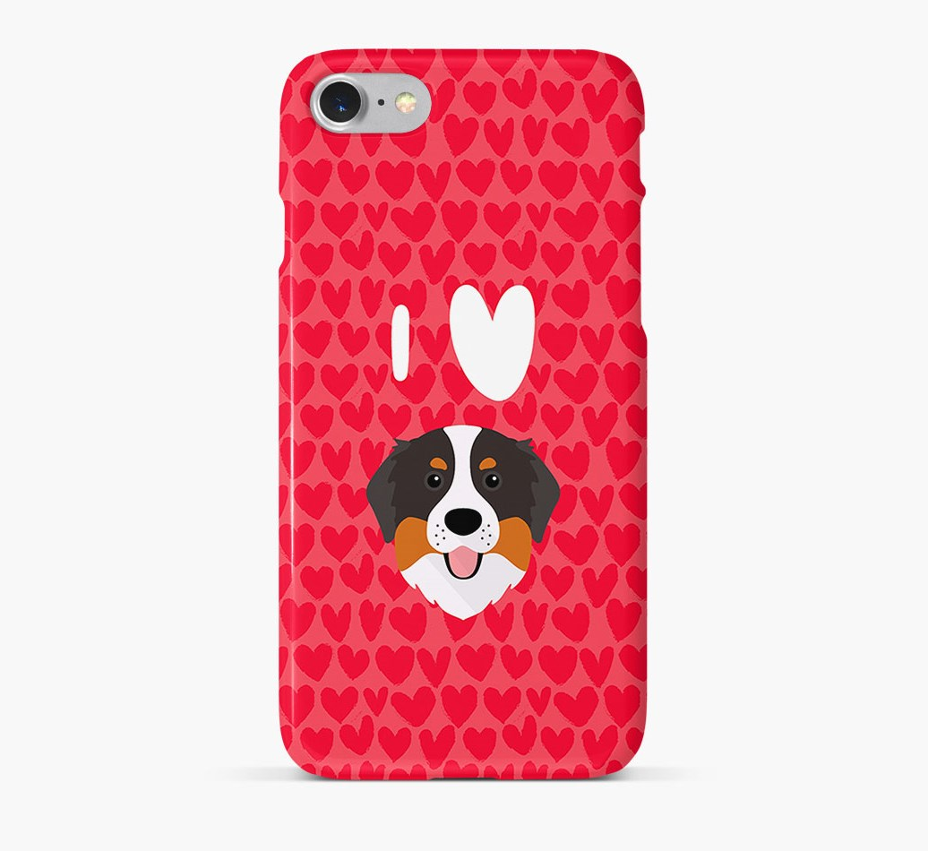 'I Heart {dogsName}' Phone Case with Bernese Mountain Dog Icon