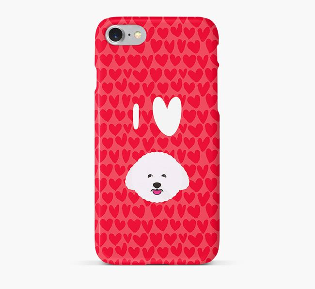 'I Heart {dogsName}' Phone Case with Bichon Frise Icon