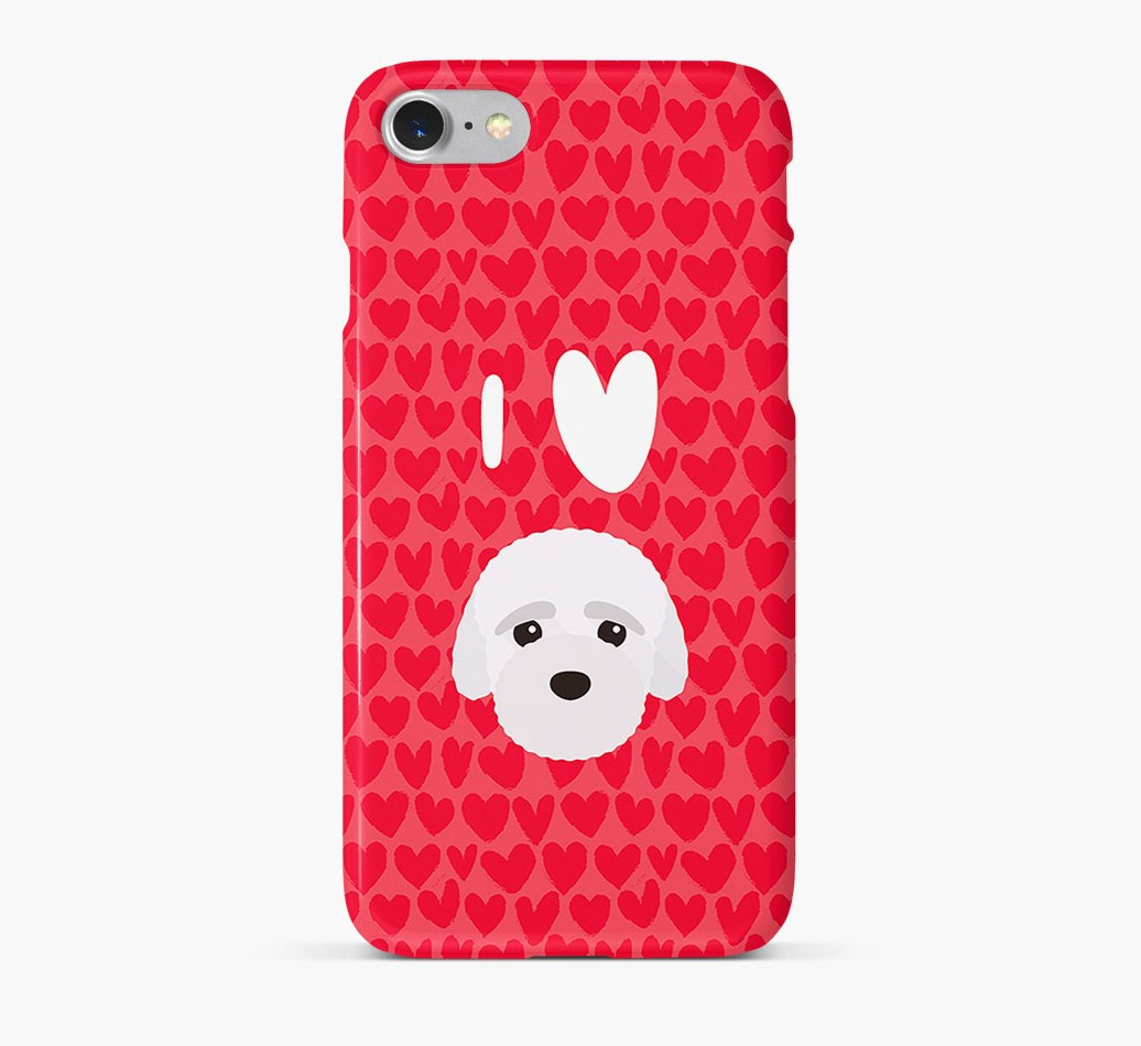 'I Heart {dogsName}' Phone Case with Bich-poo Icon