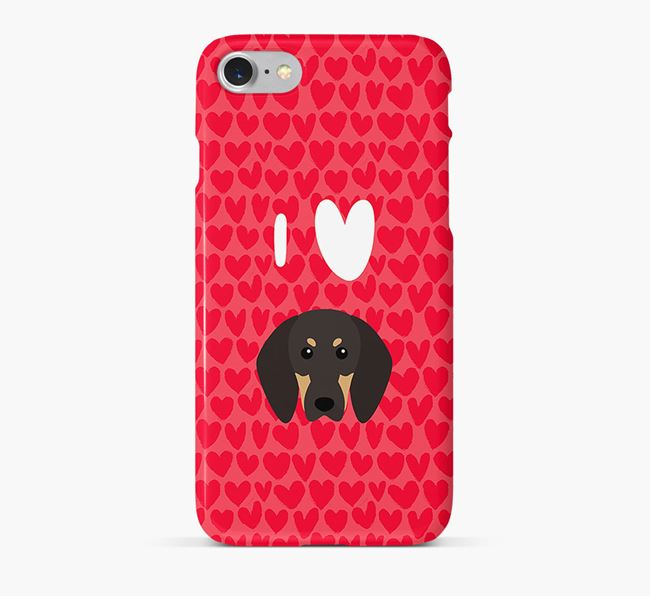 'I Heart {dogsName}' Phone Case with Black and Tan Coonhound Icon