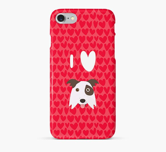 'I Heart {dogsName}' Phone Case with Border Collie Icon