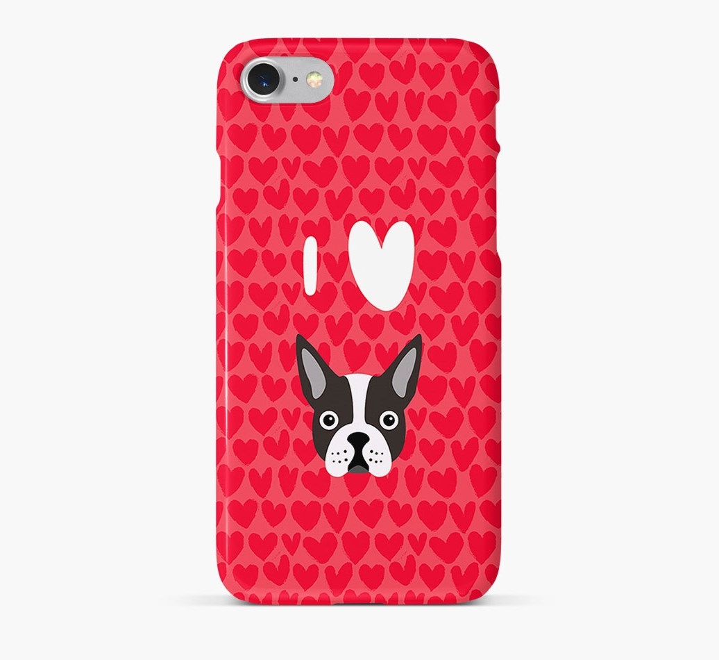 'I Heart {dogsName}' Phone Case with Boston Terrier Icon