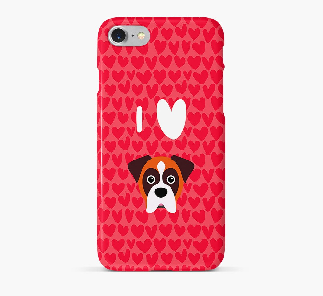 'I Heart {dogsName}' Phone Case with Boxer Icon