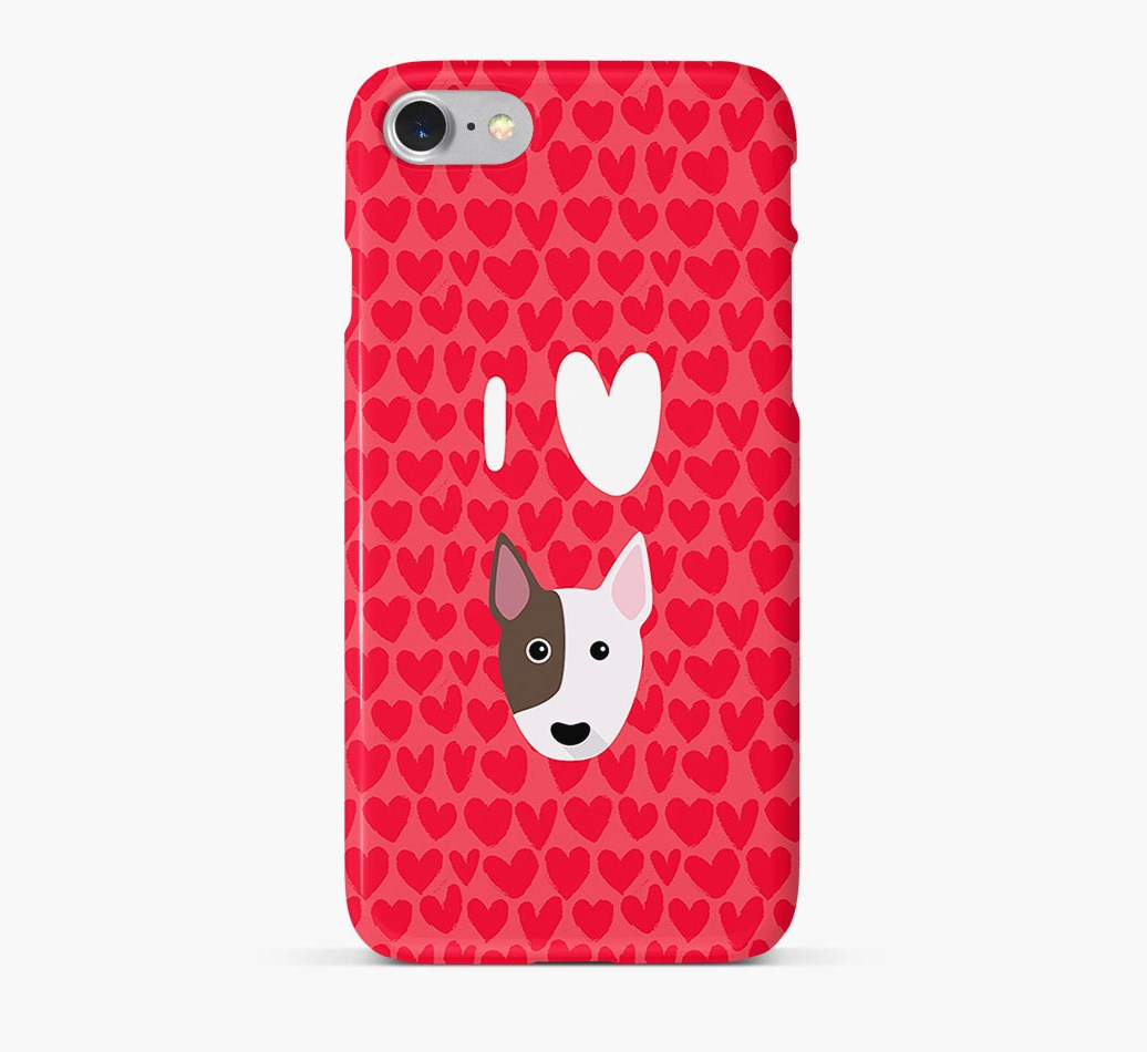 'I Heart {dogsName}' Phone Case with Bull Terrier Icon