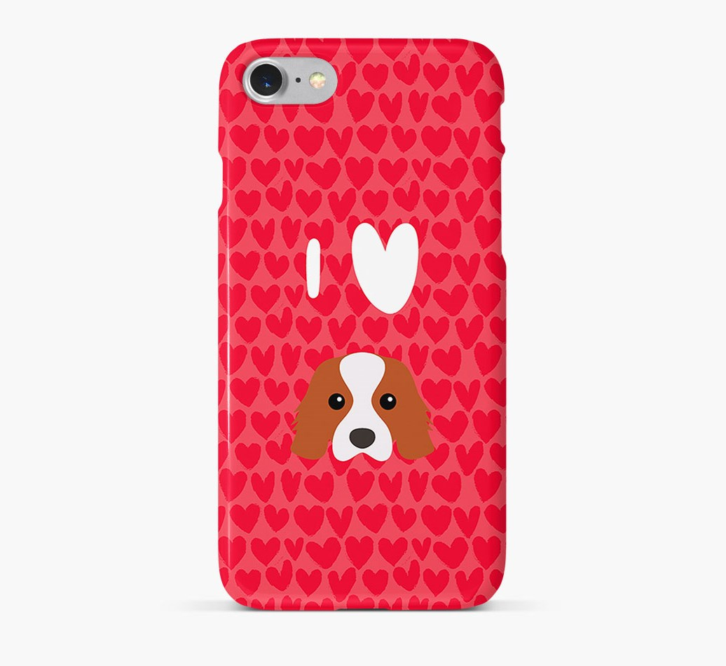 'I Heart {dogsName}' Phone Case with Cavalier King Charles Spaniel Icon