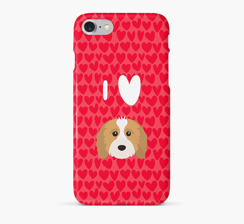 'I Heart {dogsName}' Phone Case with Cavapoo Icon