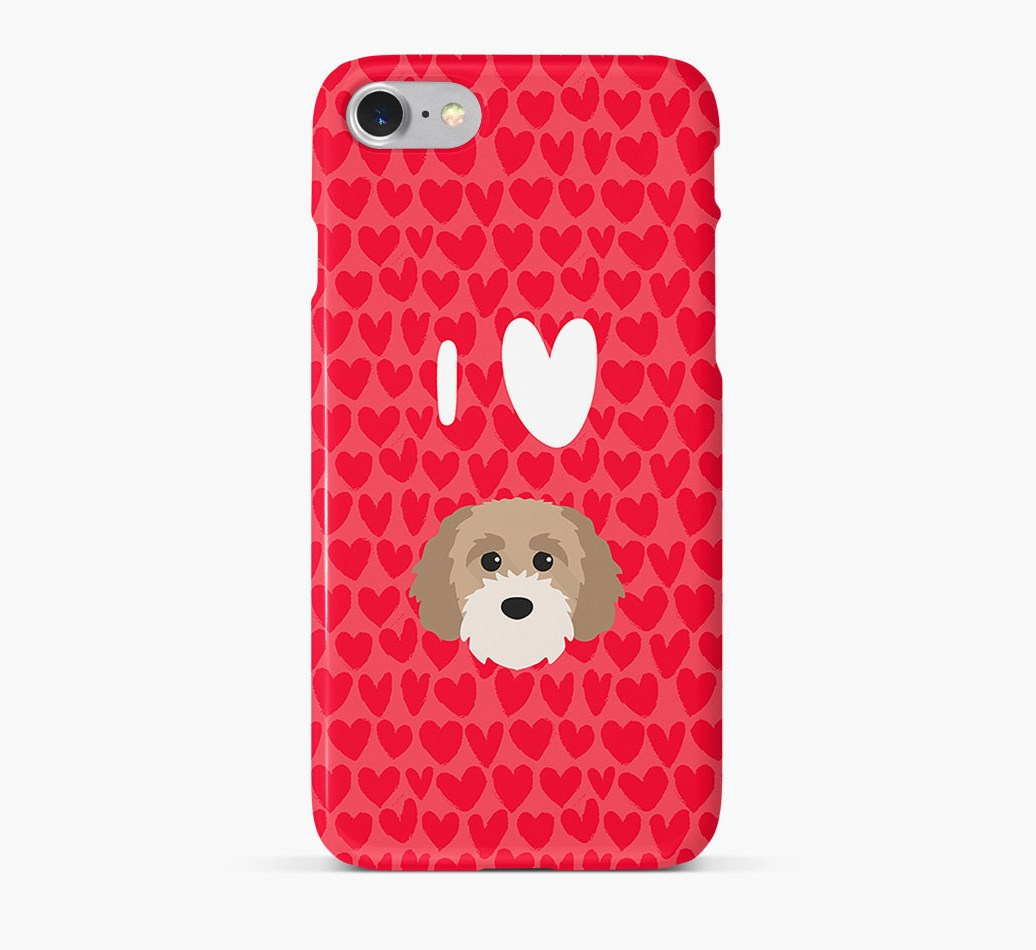 'I Heart {dogsName}' Phone Case with Cavapoochon Icon