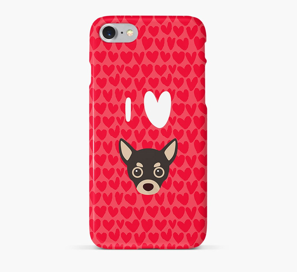 'I Heart {dogsName}' Phone Case with Chihuahua Icon