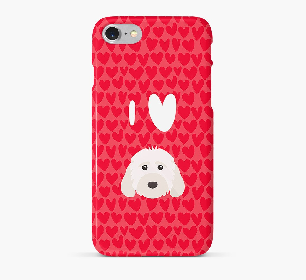 'I Heart {dogsName}' Phone Case with Cockapoo Icon