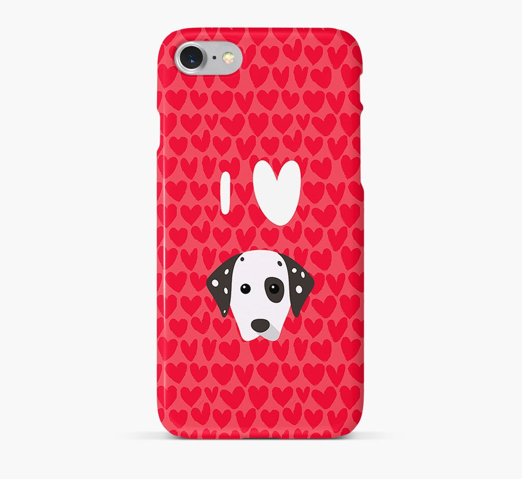 'I Heart {dogsName}' Phone Case with Dalmatian Icon