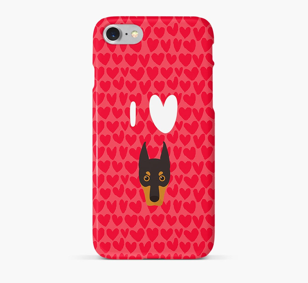 'I Heart {dogsName}' Phone Case with Dobermann Icon