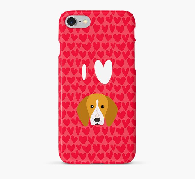 'I Heart {dogsName}' Phone Case with English Coonhound Icon