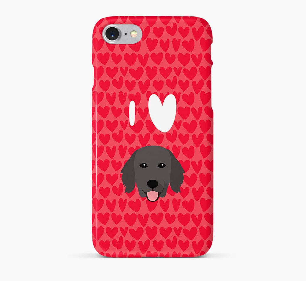 'I Heart {dogsName}' Phone Case with Flat-Coated Retriever Icon