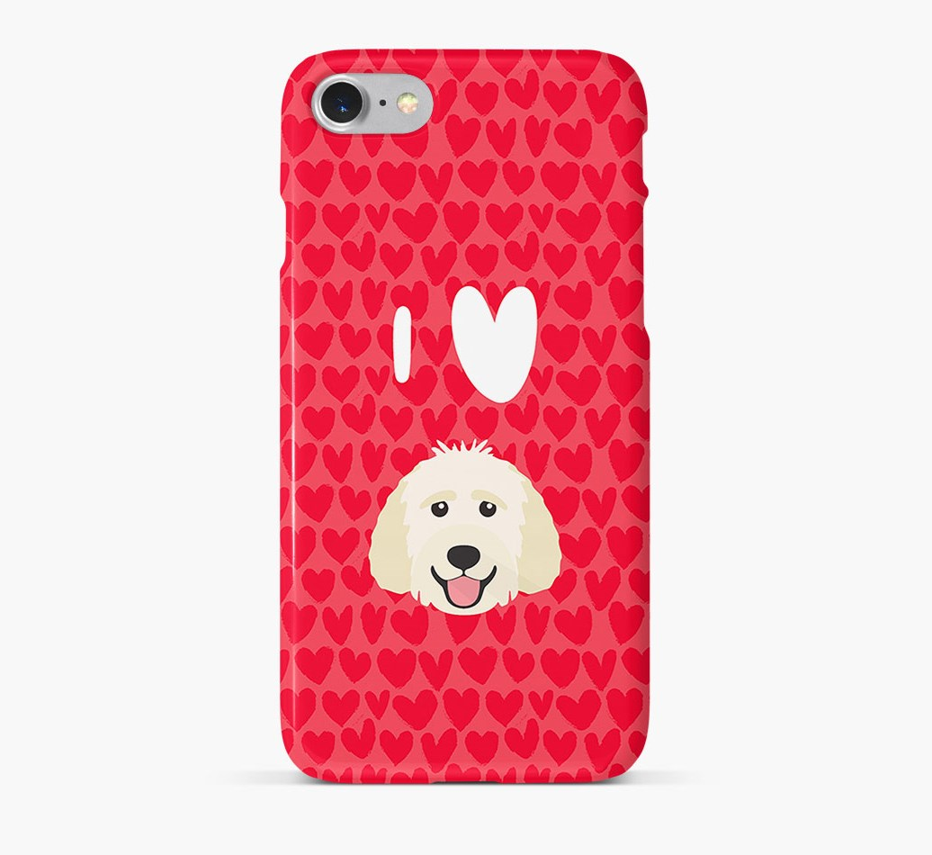 'I Heart {dogsName}' Phone Case with Goldendoodle Icon