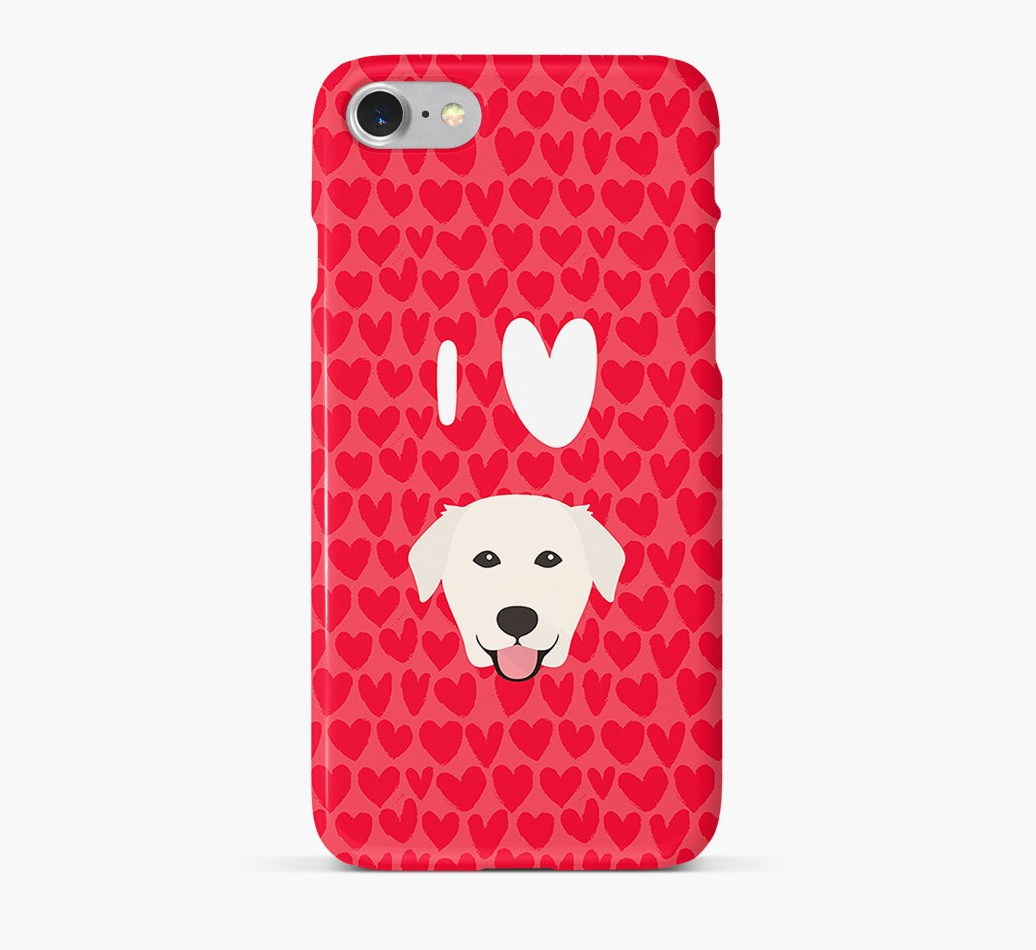 'I Heart {dogsName}' Phone Case with Golden Labrador Icon