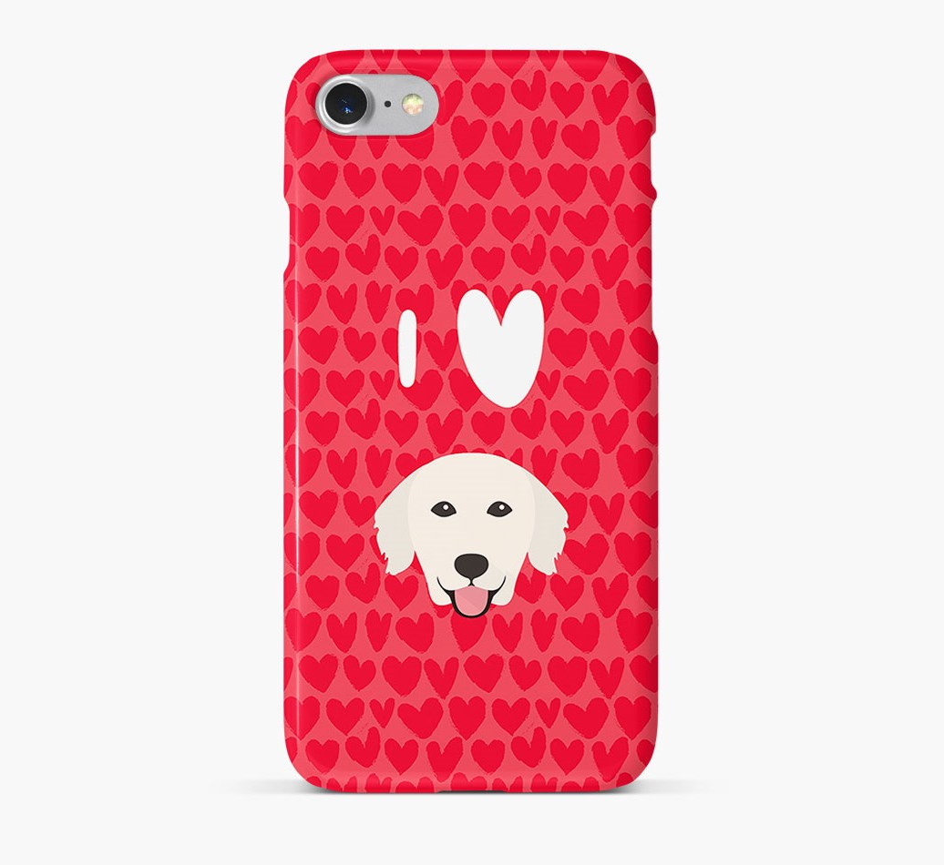 'I Heart {dogsName}' Phone Case with Golden Retriever Icon