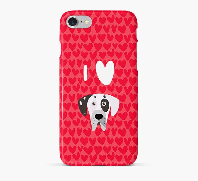 'I Heart {dogsName}' Phone Case with Great Dane Icon