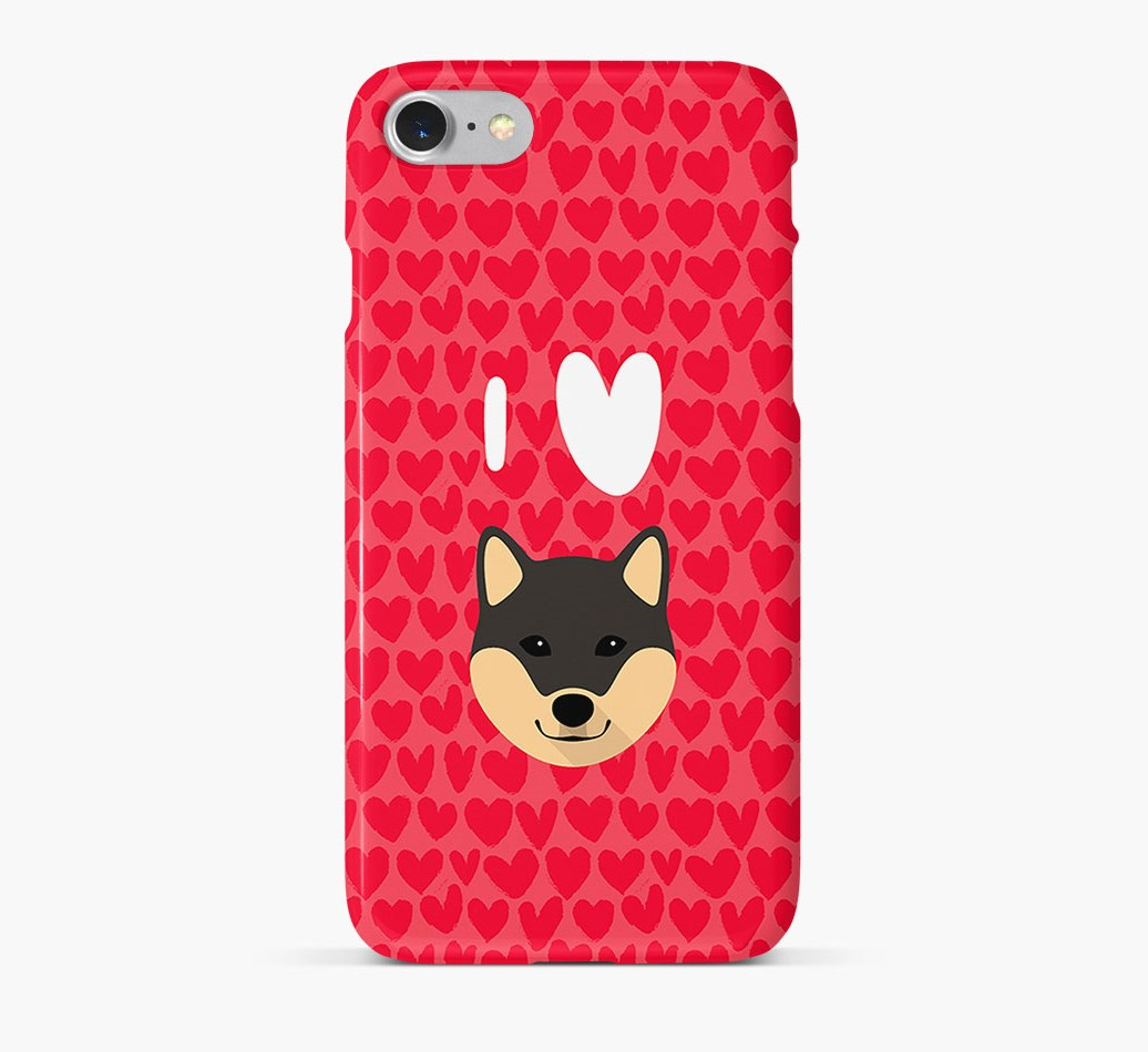 'I Heart {dogsName}' Phone Case with Japanese Shiba Icon