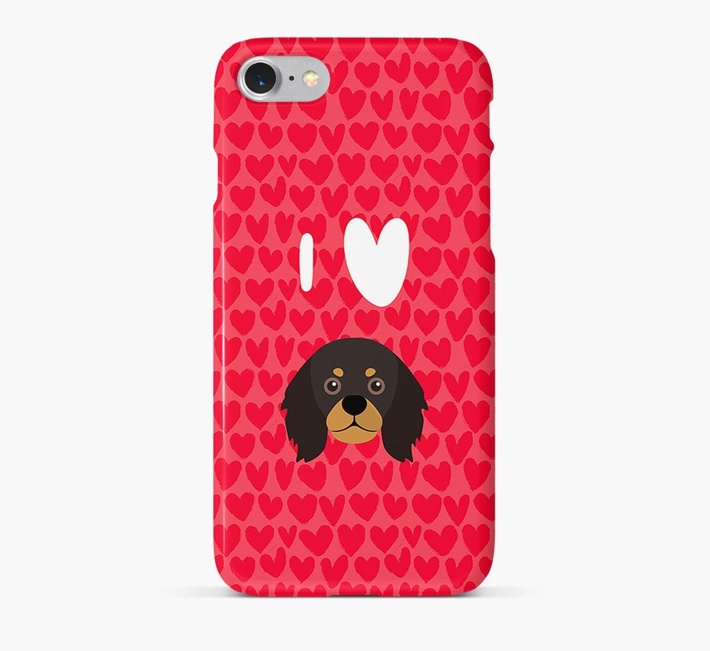 'I Heart {dogsName}' Phone Case with King Charles Spaniel Icon