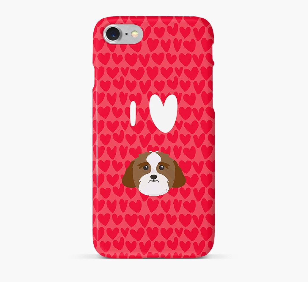 'I Heart {dogsName}' Phone Case with Lhasa Apso Icon