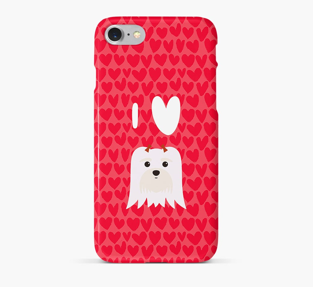 'I Heart {dogsName}' Phone Case with Maltese Icon