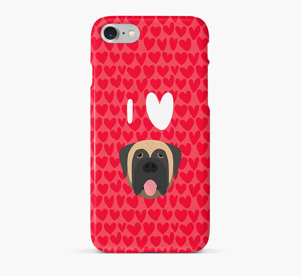'I Heart {dogsName}' Phone Case with Mastiff Icon