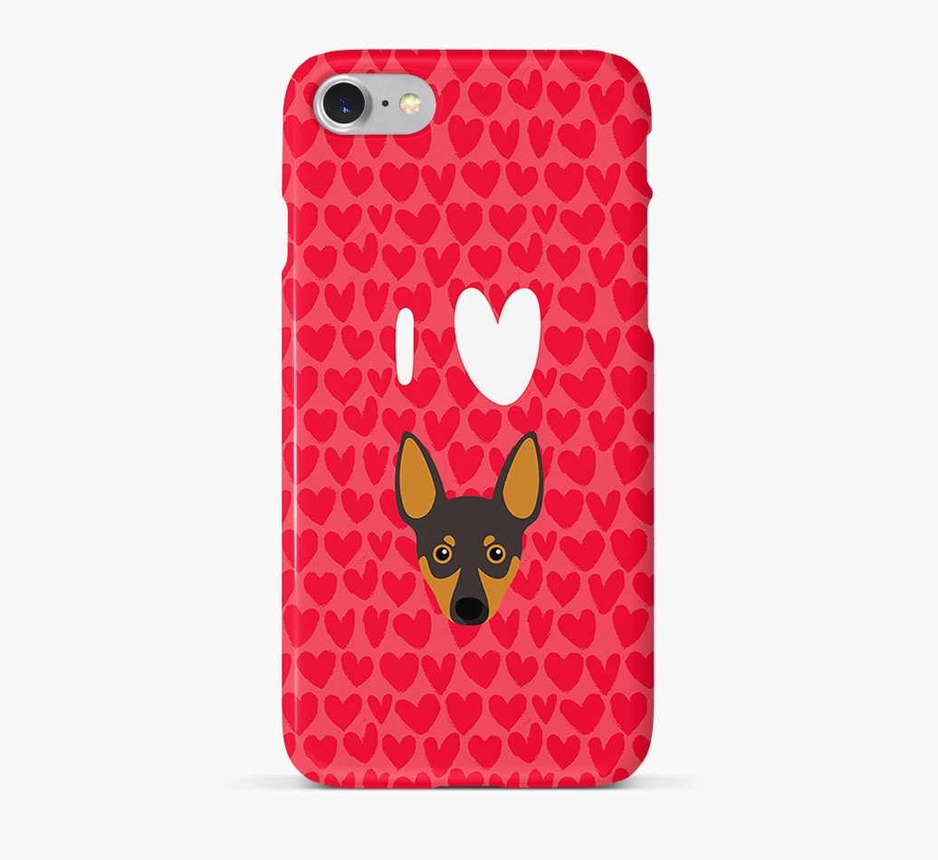 'I Heart {dogsName}' Phone Case with Miniature Pinscher Icon