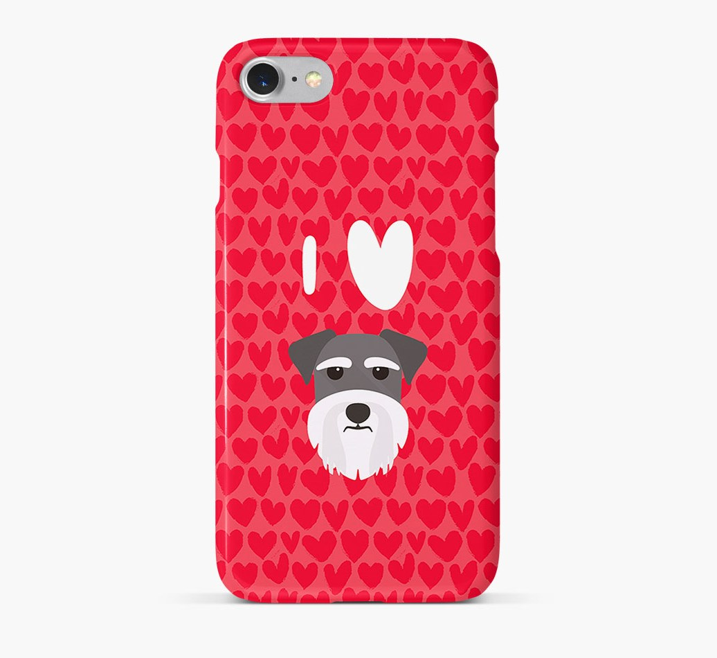 'I Heart {dogsName}' Phone Case with Miniature Schnauzer Icon