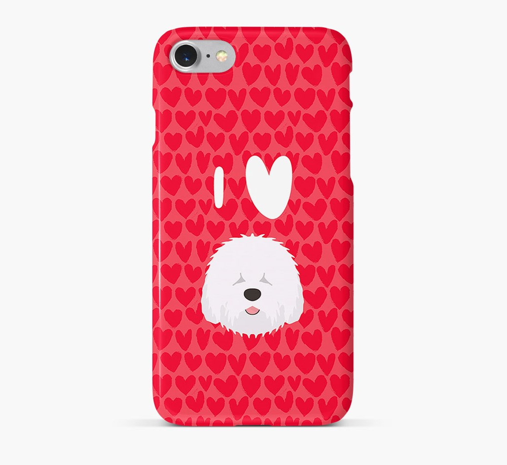 'I Heart {dogsName}' Phone Case with Old English Sheepdog Icon