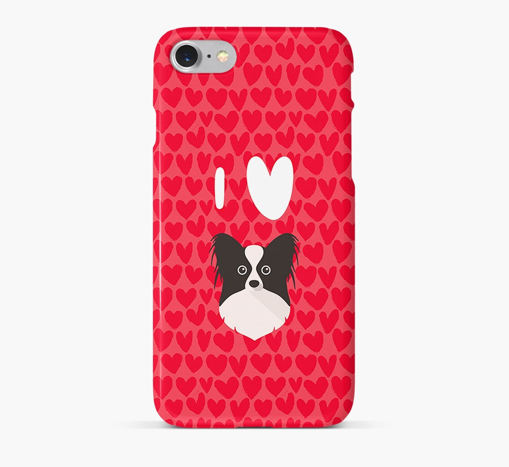 'I Heart {dogsName}' Phone Case with Papillon Icon