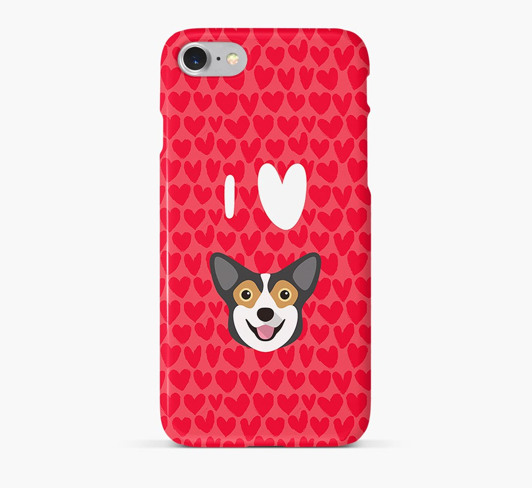 'I Heart {dogsName}' Phone Case with Pembroke Welsh Corgi Icon