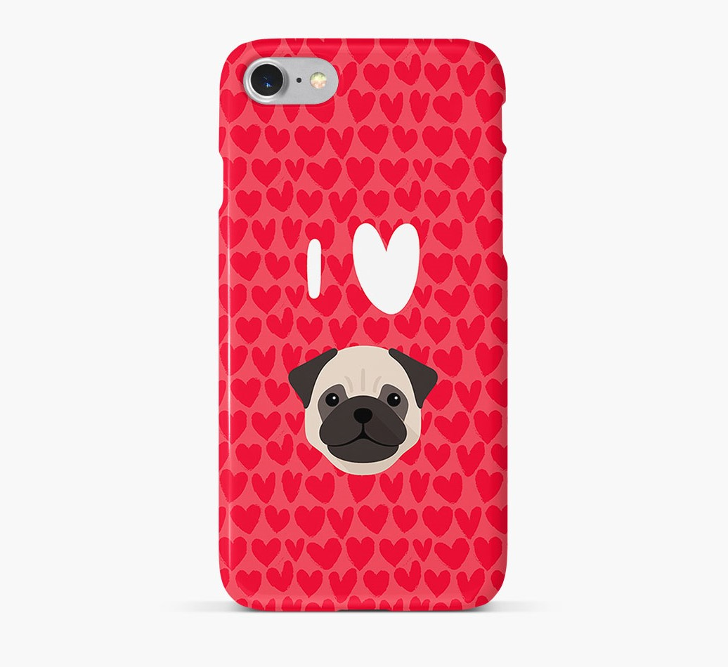 'I Heart {dogsName}' Phone Case with Pug Icon