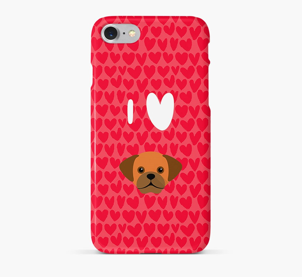 'I Heart {dogsName}' Phone Case with Puggle Icon