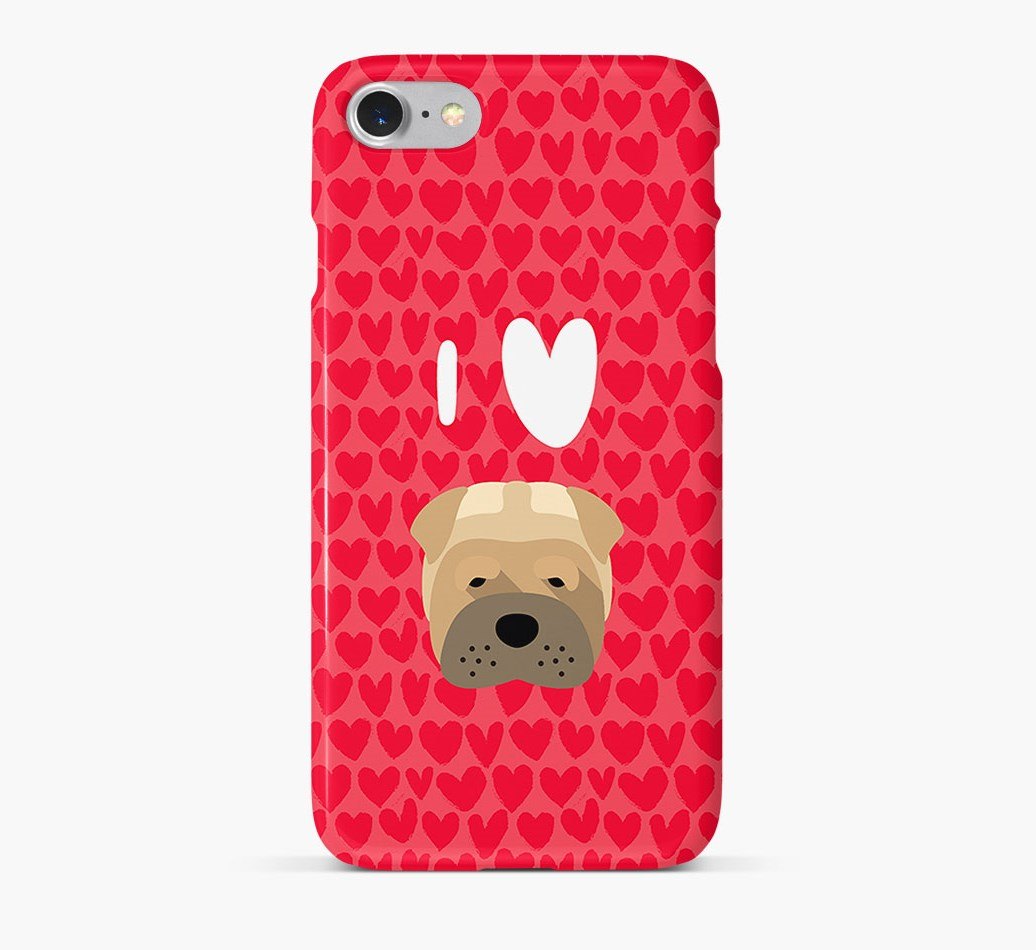'I Heart {dogsName}' Phone Case with Shar Pei Icon
