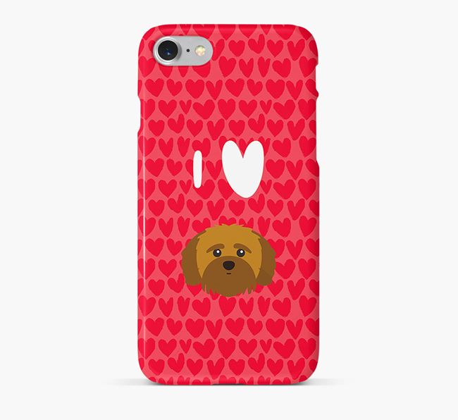 'I Heart {dogsName}' Phone Case with Shih-poo Icon