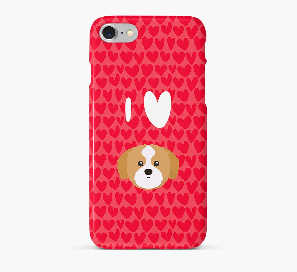 'I Heart {dogsName}' Phone Case with Shih Tzu Icon