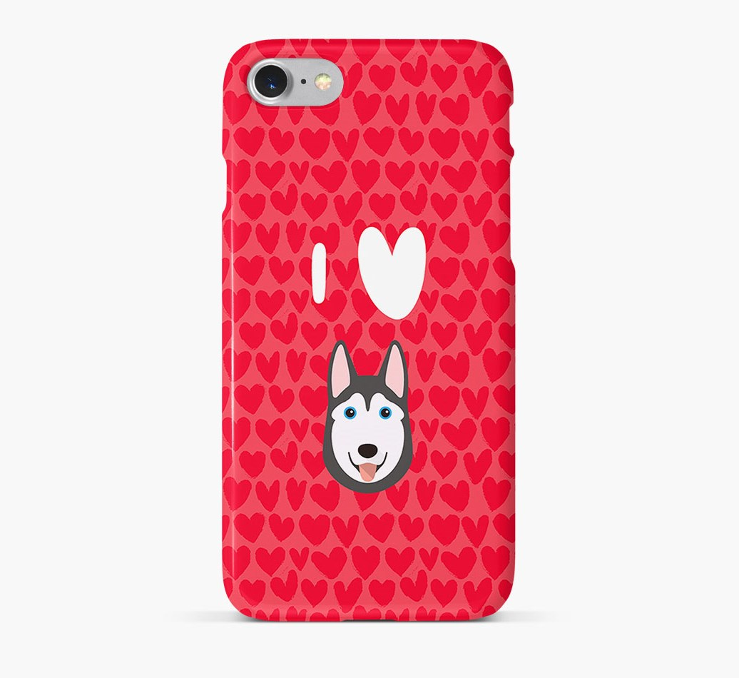 'I Heart {dogsName}' Phone Case with Siberian Husky Icon