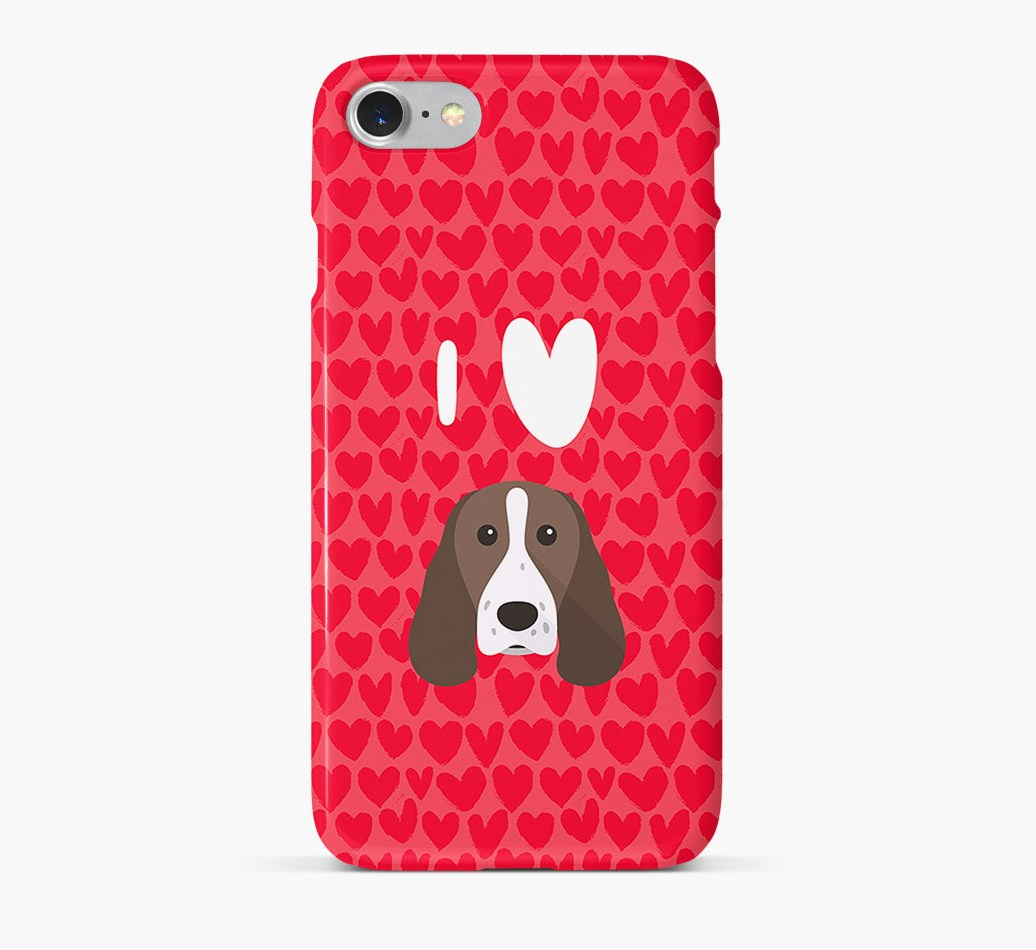 'I Heart {dogsName}' Phone Case with Springer Spaniel Icon