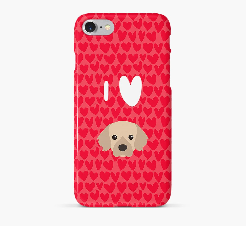 'I Heart {dogsName}' Phone Case with Tibetan Spaniel Icon