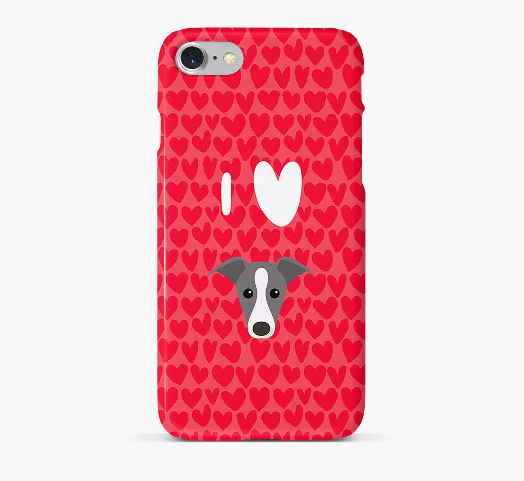 'I Heart {dogsName}' Phone Case with Whippet Icon