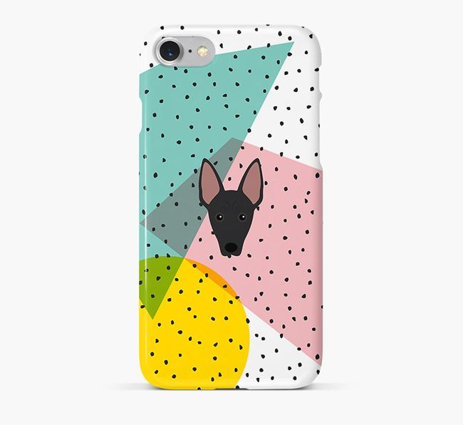 'Geometric' Phone Case with American Hairless Terrier Icon