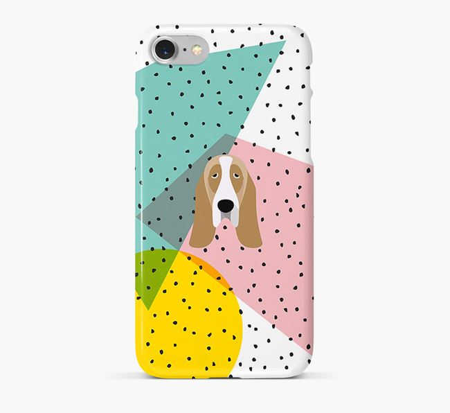 'Geometric' Phone Case with Basset Hound Icon