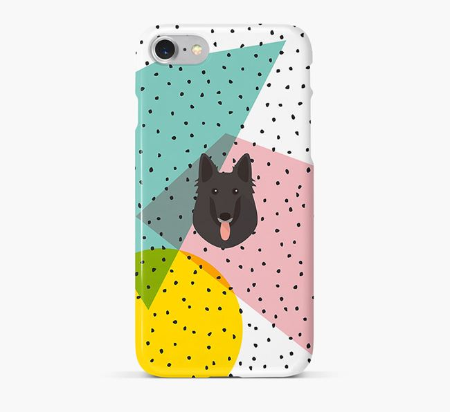'Geometric' Phone Case with Belgian Groenendael Icon