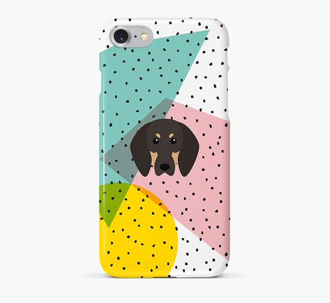 'Geometric' Phone Case with Black and Tan Coonhound Icon