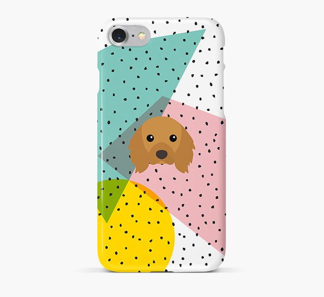 'Geometric' Phone Case with Cavalier King Charles Spaniel Icon